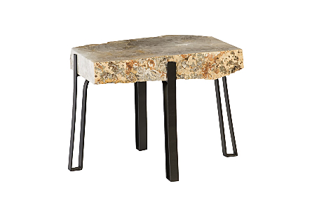 Agate Coffee Table Metal Base