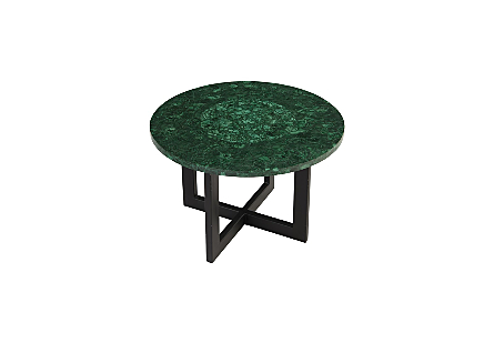 Malachite Coffee Table Green Center, Round, LG