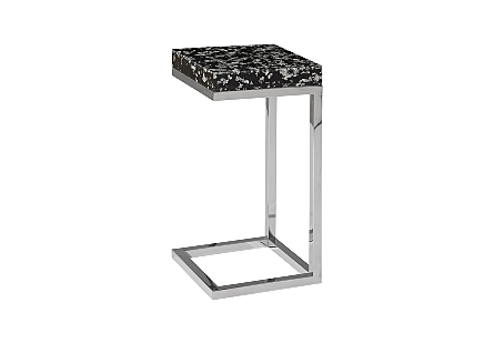 Captured End Table Silver Flake, Stainless Steel Base