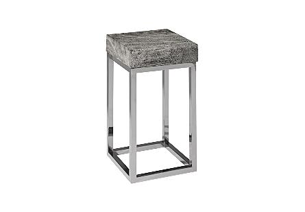 Chamcha Wood End Table Grey Stone, Square, Black Nickel Base
