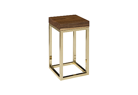 Chamcha Wood End Table Natural, Square, Plated Brass Base