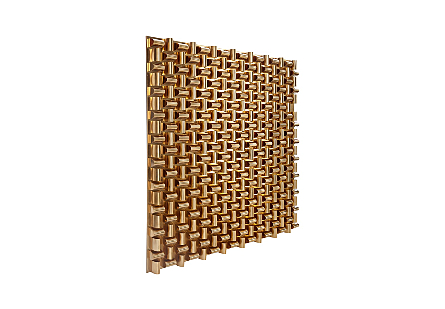 Arete Wall Art Square, Plated Brass Finish