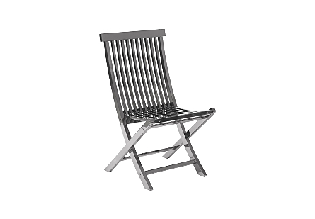 Slatted Folding Chair Plated Black Nickel