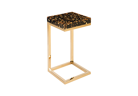 Captured End Table Gold Flake, Plated Brass Base