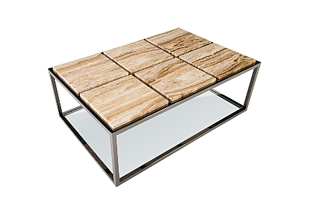 Onyx Coffee Table Six Squares, Plated Black Nickel Base