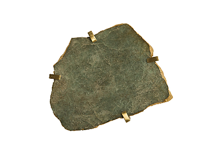 Gem Wall Tile in Brass Setting Green Emerald