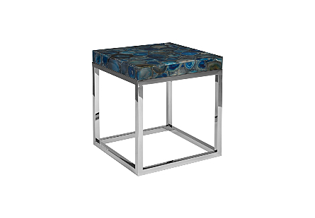 Agate Side Table Stainless Steel Base
