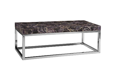 Amethyst Coffee Table Stainless Steel Base
