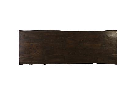 Laminated Teak Wood Dining Table Brushed Stainless Steel Legs