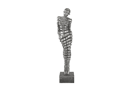 Ribboned Woman Leaning Right Black/Silver, Aluminum