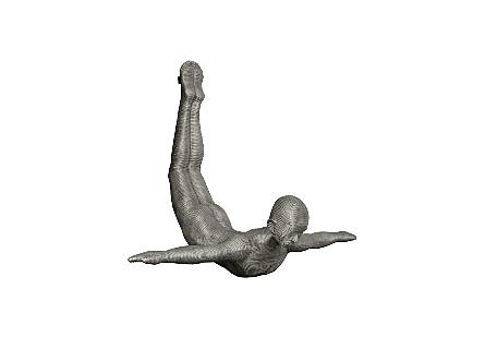 Diving Wall Sculpture Black/Silver, Aluminum