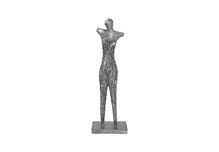 Abstract Female Sculpture on Stand Black/Silver, Aluminum