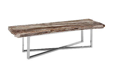 Petrified Coffee Table Stainless Steel Base