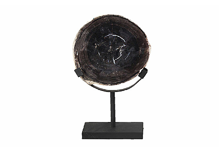 Petrified Slice Sculpture on Stand Assorted, Black