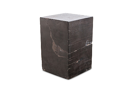 Petrified Wood Stool Square, Full Polish