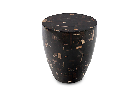Petrified Wood Mosaic Drum Side Table Dark