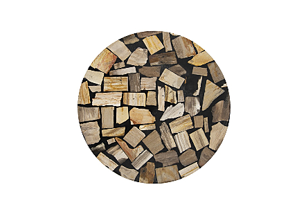 Petrified Wood Mosaic Drum Side Table Light