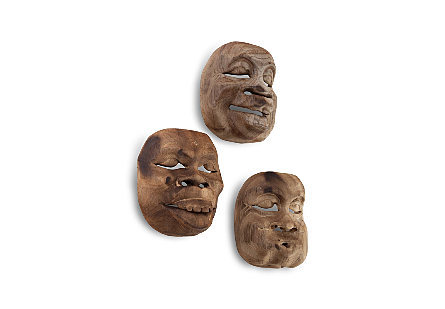 Indonesian Masks Assorted, Grey Stone Effect