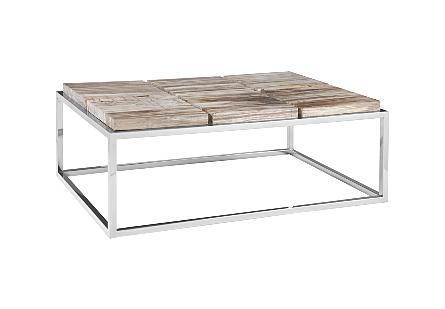 Petrified Wood Coffee Table SS Base