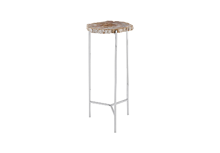 Petrified Wood Beverage Table Off White, LG