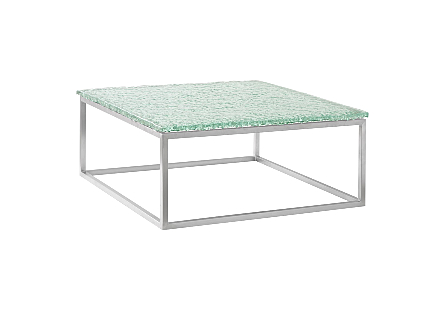 Bubble Glass Coffee Table Stainless Steel Base