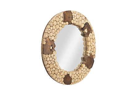 Teak Patch Stick Mirror Round, SM