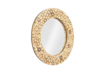 Teak Stick Mirror Round, SM