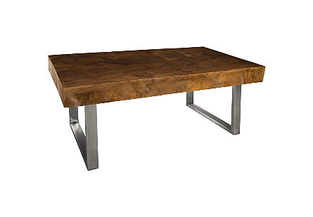 Laminated Teak Wood Square Dining Table Stainless Steel Legs