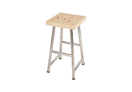 Onyx Bar Stool, Stainless Legs, Square