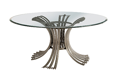 Bicycle Rim Dining Table Base Grey, with Glass