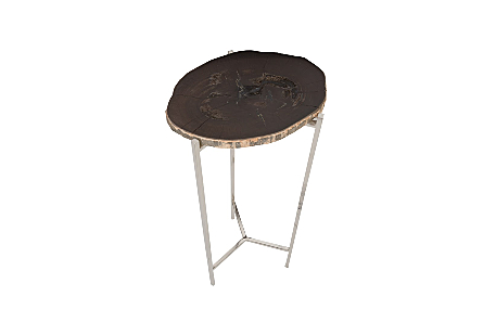 Petrified Wood Beverage Table Black, LG