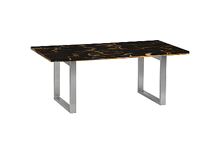 Petrified Wood Dining Table Stainless Steel Legs, High Gloss