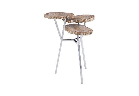 Petrified Wood Beverage Table, 3 Tiered
