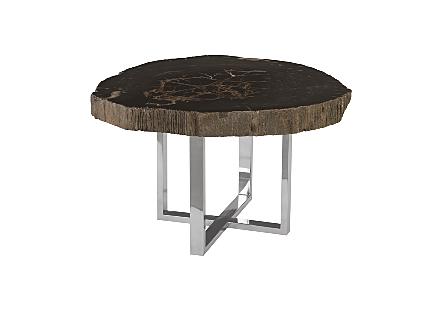 Petrified Wood Coffee Table w/SS Base