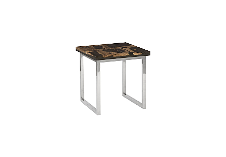 Petrified Wood Mosaic Side Table Stainless Steel Base
