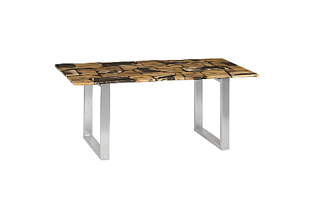 Petrified Wood Mosaic Dining Table Stainless Steel Legs