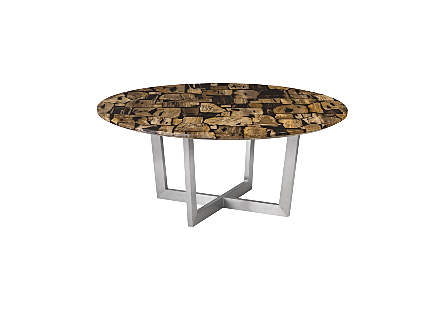 Petrified Wood Mosaic Dining Table Dark Color, Stainless Steel Base