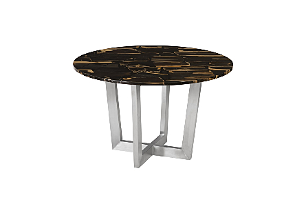 Petrified Wood Mosaic Dining Table, Round Stainless Steel Base