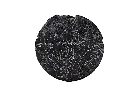 Side Table Black Wash Round