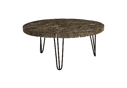Driftwood Top Coffee Table Black Wash