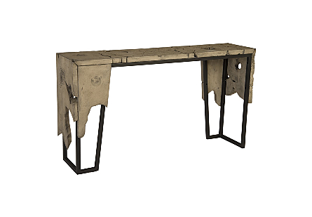 Teak Slice Console Table Metal Frame, GreyStone