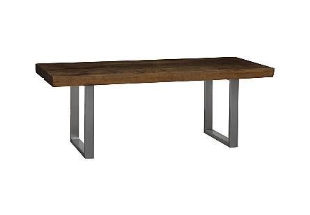 Live Edge Dining Table, Merbau Wood Stainless Steel Legs