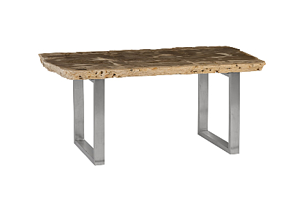 Petrified Wood Dining Table Brushed Stainless Steel