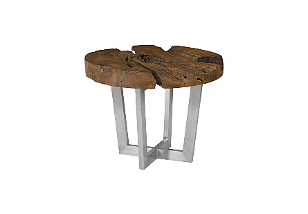 Teak Root Slice Dining Table Stainless Steel Base, Round