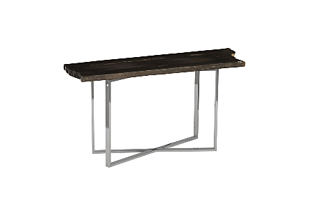 Petrified Wood Console Table MD, Stainless Steel Base