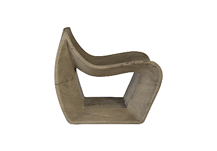 Smooth Chamcha Wood Chair Grey Stone
