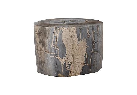 Petrified Wood Stool Round, Full Polish