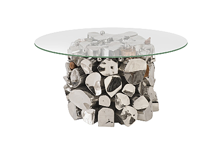 Stainless Steel Side Table Copper Accent, w/ Glass