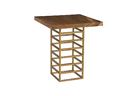Ladder Bar Table Suar Wood, Natural/Brass Finish