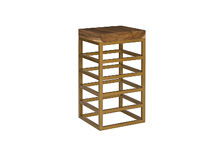 Ladder Bar Stool Suar Wood, Natural/Brass Finish